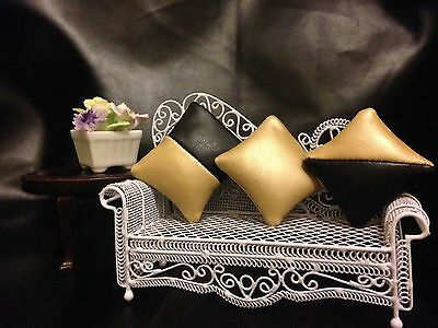 3 Faux  Black and Gold Leather Cushions for 1/12th Dolls House.
