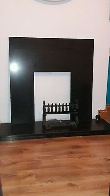 black marble hearth and back panel