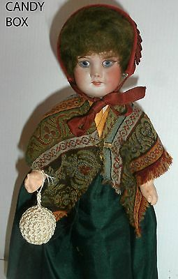 estate /rare antique  FRENCH DOLL   CANDY  CONTAINER SIGNED  PARIS CANDY BOX