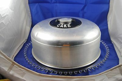 """Vintage KROMEX Aluminum cover w/ a """"CANDLEWICK"""" glass cake platter"""