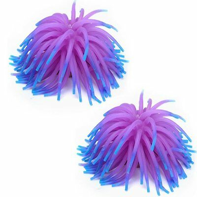 2 x Silicone Aquarium reservoir de poissons Corail decoration ornement-Violet M1