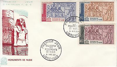 Gabonaise 1964 FDC save the monuments of Nubia's Temples Unesco