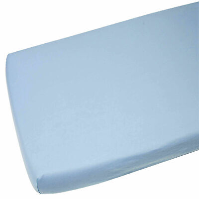 4x Crib Jersey Fitted Sheet 100% Cotton 40 x 90cm Blue