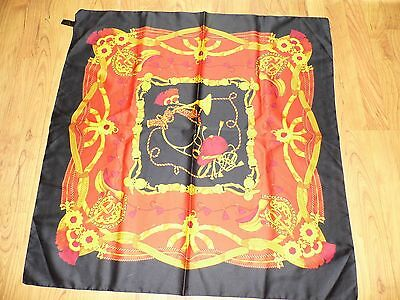 Vintage Equestrian English Horse Riding Fox Hunt Large Colorful Italian Scarf