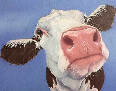 Hereford cow painting fine art giclee print by artist Lizzie Hall