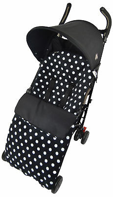 Fleece  Footmuff / Cosy Toes Compatible with Buggy Pushchair Polka Dot Black