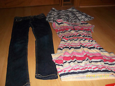 Denim + co skinny jeans age 9-10, H+M skirt 9-10 + M+S long stripe top age 10