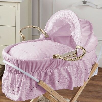 Broderie Anglaise Moses Basket With Mattress And Bedding Pink