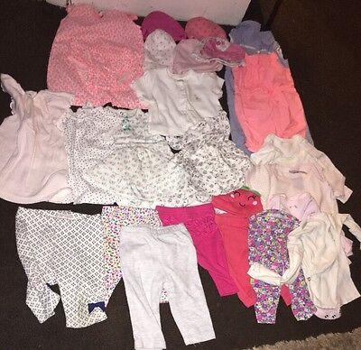 baby girl clothes size newborn, 3-6 Months, 0-3 Months, 6-9 Months Lot Of 26