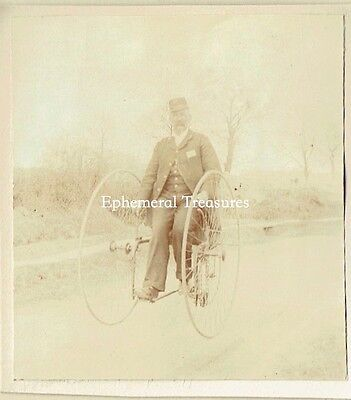 Man on a High Wheeled Tricycle - Original 1890s  Photograph