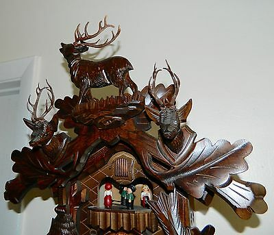 Vintage 8 Day  Hand Carving Musical Hunter Germany Black Forest Cuckoo Clock
