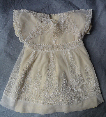 Antique French hand made lace tulle childs' dress, vermiculage embroidery