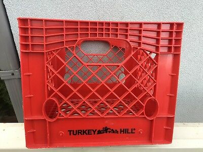 Vintage Turkey Hill Dairy Farms Red Plastic Milk Crate Four 4 Gallon