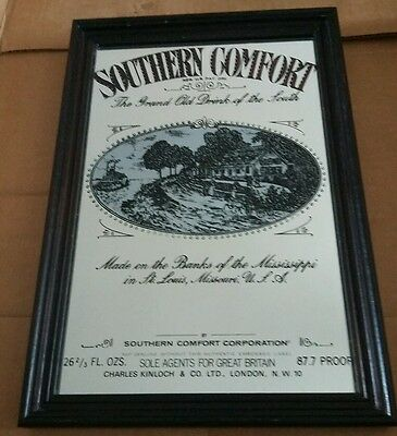 Vintage Southern Comfort Bar Advertising Mirror wooden frame