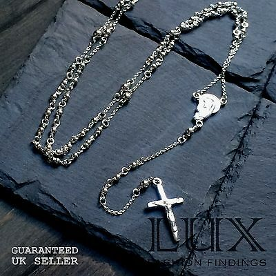 """Sterling Silver 26"""" Catholic Christian Religious Rosary Necklace Prayer Beads"""