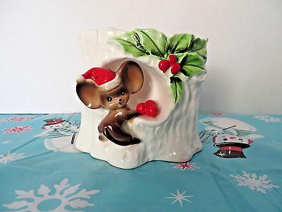 1960's Lefton Christmas Mouse w/Holly Planter or Candy Dish #1086 Made in Japan