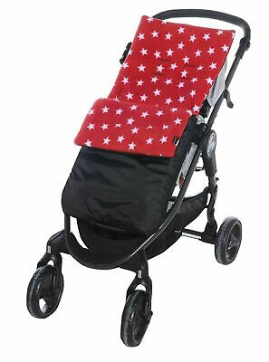 Fleece Footmuff / Cosy Toes Buggy Pushchair Baby Stripe/Dot/Star - Red Star / Bl