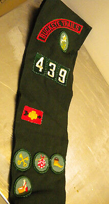 vintage girl scout sash banner patches green usa uniform