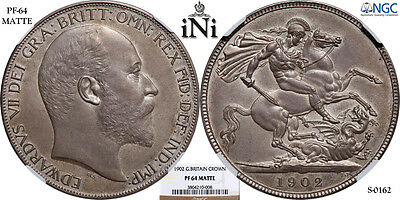 iNi  Great Britain, Edward VII, Crown, MATTE PROOF, 1902, Toned, NGC PF 64