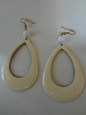 Vintage Earrings Large Statement Chunky drop off white metal 80's 2.5 in