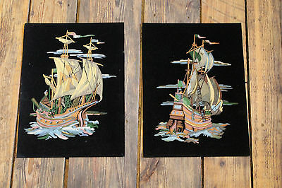 """2 Piece Lot / 1960's Vintage  """" Paint by Number """" Paintings """" SHIPS ON VELVET """""""