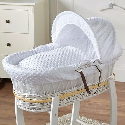 White Wicker Moses Basket White Dimple