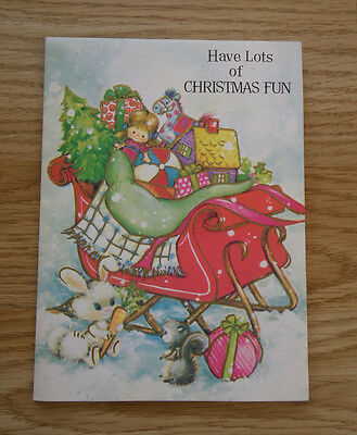 Vintage Paper sleigh with toys Christmas Card 1950's/1960's Scrapbook Cardmaking