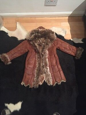 Girls Real Leather Shearling Coat 4-6 Years Hardly Worn