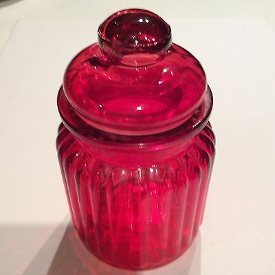 Red Canister Glass Jar With Lid Ribbed Detail