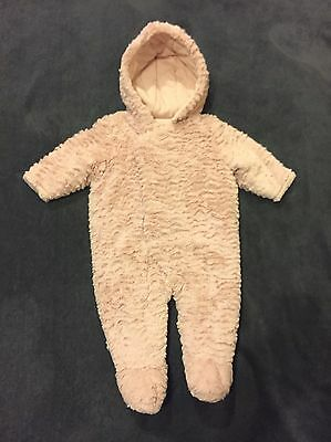 Baby Girl Lovely So Soft Fluffy Warm Snowsuit By TU 3-6 Months