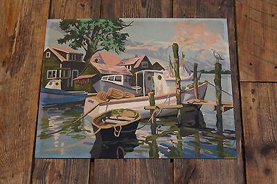 """1960's  Vintage """" Paint by Number """" Painting  """" FISHERMAN'S WHARF """""""