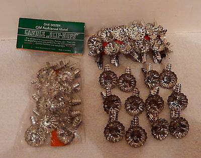 *36* Vintage German Tin Silver Christmas Tree Pine Cone Clip Candle Holders NICE
