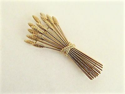 Vintage Tiffany 18K Sheaf of Wheat Pin Brooch, 15 Stalks of Wheat