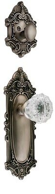 Nostalgic Warehouse BN72-VICCRY-AP Victorian Interior Handleset with Crystal
