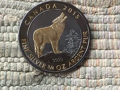 2015 Canada 2$  GILDED HOWLING WOLF .75 ozt TESTED