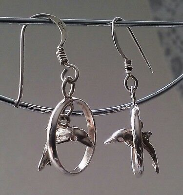 925 Sterling Silver Dolphin Jumping Thru Hoop 3D Moveable Dangle Wire Earrings