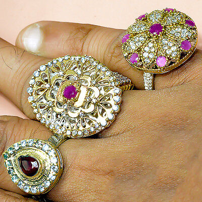 Smart Ruby 3 Pcs Turkish Silver Plated Wholesale Rings Lot Av4594
