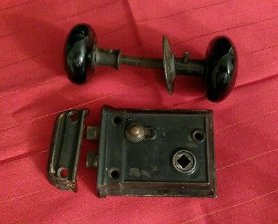 Antique Mortise Rim Lock Set w/Rosette 2 Black Porcelain Door Knobs Vintage Knob