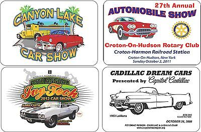 25 Custom Hot Rod & Car Show Customized Full Color Dash Plaques adhesive backing