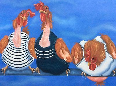 Rescue chickens in jumpers painting fine art giclee print by artist Lizzie Hall