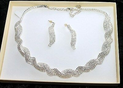 Twisted Design Diamante Necklace & Earrings Set * New & Boxed * Bridal Wedding