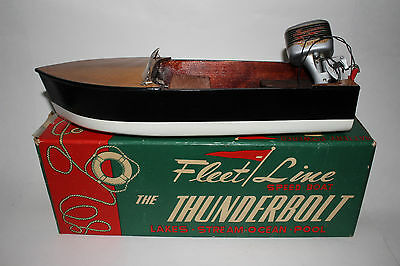 1960's Fleet Line Battery Operated Pond Boat, Thunderbolt With Motor, Boxed