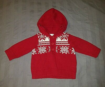 VGUC Gymboree Baby Boy Clothes 0-3 Months One Piece Hooded Knit Sweater