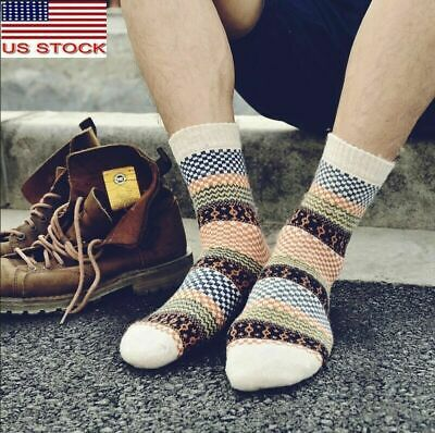 5 Pairs Wool Cashmere Men/Women Cushioned Socks Thicken Warm Casual Solid Winter