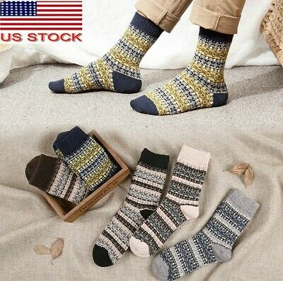 SALE 5 Pack Mens Wool Cotton Socks Design Thick Warm Casual Dress Winter Fashion