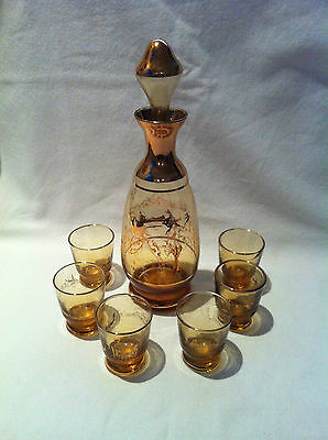 Vintage amber glass decanter, 6 x glasses, Gold overlay,  Made in Italy