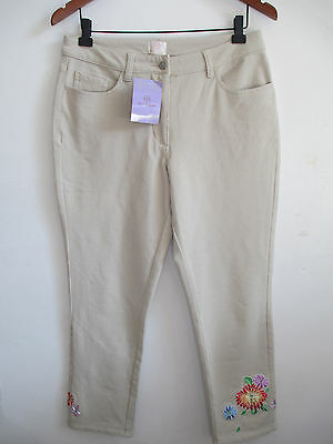size 10 Women's cotton blend stretch skinny pants beige embroidery embellished