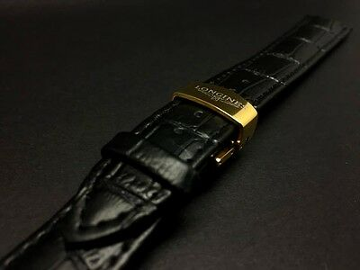 18MM Black Longines Genuine Leather Strap Stainless Steel Gold Plated Buckle