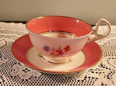 Sampson Smith Old Royal Bone China Pink Band Cup Saucer Set Pattern 2225