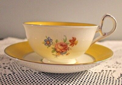 Sampson Smith Old Royal Bone China Yellow Band Cup Saucer Set Pattern 2225